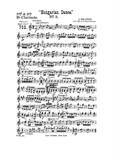 Танец No.5 фа-диез минор: Для духового оркестра – Партия второго и третьего кларнетов in B by Иоганнес Брамс