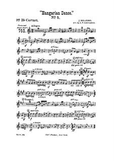 Танец No.5 фа-диез минор: Для духового оркестра – Партия первого корнета in B by Иоганнес Брамс