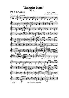 Танец No.5 фа-диез минор: Для духового оркестра – Партия третьего и четвёртого альтов by Иоганнес Брамс