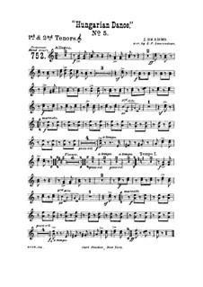 Танец No.5 фа-диез минор: Для духового оркестра – Партия первого и второго тенор-горнов by Иоганнес Брамс