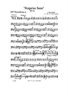 Танец No.5 фа-диез минор: Для духового оркестра – Партия третьего тромбона by Иоганнес Брамс