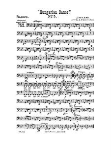 Танец No.5 фа-диез минор: Для духового оркестра – Партия туб by Иоганнес Брамс