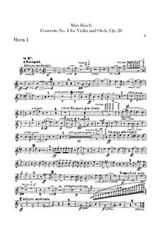 Концерт для скрипки с оркестром No.1 соль минор, Op.26: Партии валторн by Макс Брух