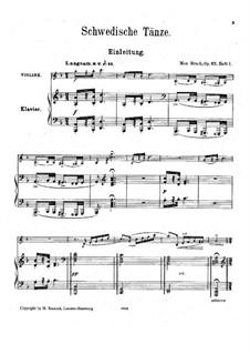 Шведские танцы, Op.63: Сборник by Макс Брух