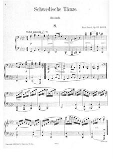 Шведские танцы, Op.63: No.8-15, для фортепиано в четыре руки by Макс Брух