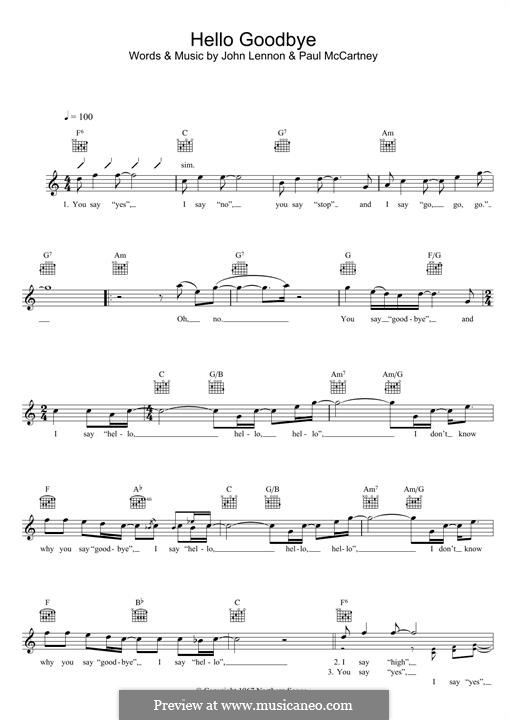 Hello, Goodbye (The Beatles): Для клавишного инструмента by John Lennon, Paul McCartney