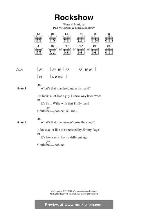 Rockshow (Wings): Для гитары by Linda McCartney, Paul McCartney