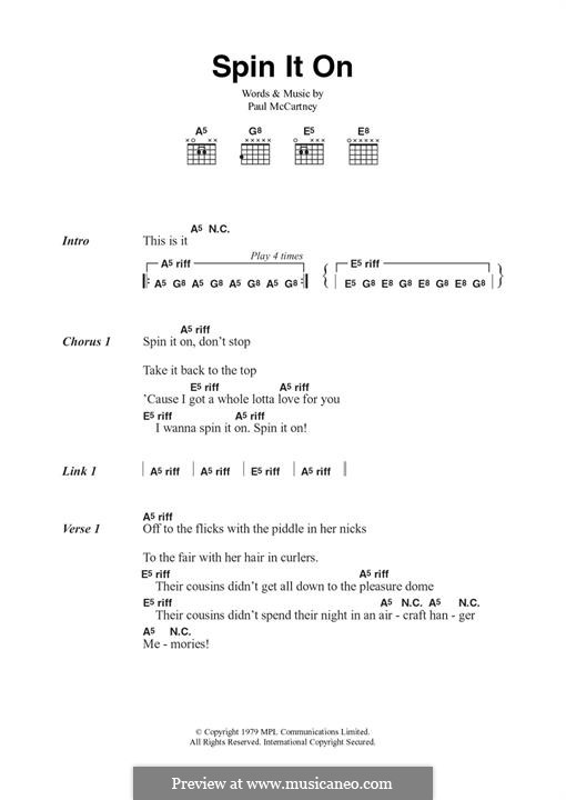 Spin it on (Wings): Для гитары by Paul McCartney