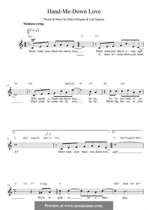 Hand Me Down: Для клавишного инструмента by Duke Ellington