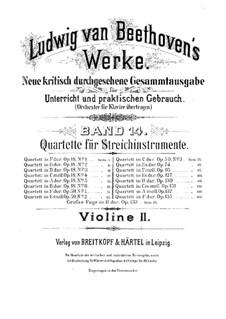 Квартет No.1 фа мажор: Партия второй скрипки by Людвиг ван Бетховен