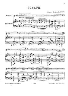 Сонаты для кларнета (или альта) и фортепиано, Op.120: Версия для скрипки и фортепиано by Иоганнес Брамс