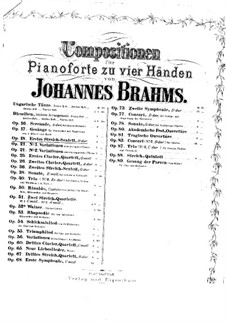 Струнный секстет No.1 си-бемоль мажор, Op.18: Версия для фортепиано в 4 руки by Иоганнес Брамс