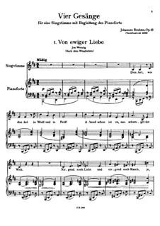 Четыре песни, Op.43: Сборник by Иоганнес Брамс