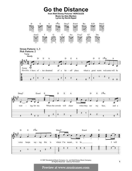 Go the Distance (from Hercules): Для гитары by Alan Menken