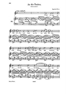 Романсы и песни, Op.63: Nr.4 An die Tauben by Иоганнес Брамс