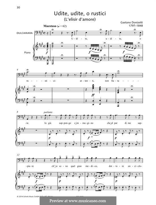 Любовный напиток: Udite, udite, o rustici by Гаэтано Доницетти