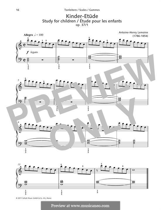 Этюды, Op.37: No.1 Study for children by Анри Лемуан