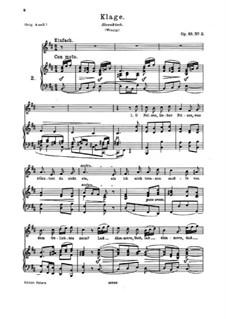 Девять песен и романсов, Op.69: No.2 Klage (Lament) by Иоганнес Брамс