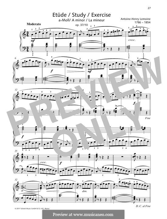 Этюды, Op.37: No.10 Study A minor by Анри Лемуан