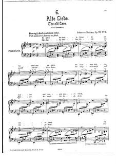 Пять песен, Op.72: No.1 Alte Liebe (Old Love) by Иоганнес Брамс