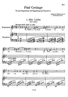 Пять песен, Op.72: Сборник by Иоганнес Брамс