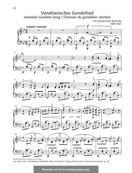 Песни без слов, Op.19b: No.6 Venetian Gondola Song by Феликс Мендельсон-Бартольди