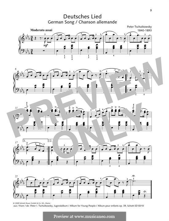 No.17 Немецкая песенка: Для фортепиано by Петр Чайковский