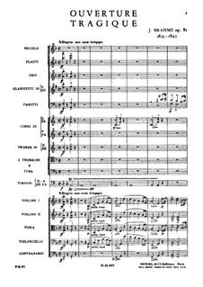 Трагическая увертюра, Op.81: Партитура by Иоганнес Брамс
