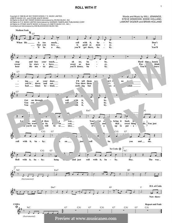 Roll with It: Для клавишного инструмента by Brian Holland, Edward Holland Jr., Lamont Dozier, Steve Winwood, Will Jennings