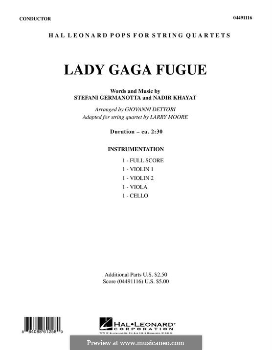 Lady Gaga Fugue: Партитура by RedOne, Stefani Germanotta