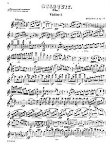 Струнный квартет No.11 до мажор, B.121 Op.61: Скрипка I by Антонин Дворжак