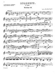 Струнный квартет No.11 до мажор, B.121 Op.61: Скрипка II by Антонин Дворжак