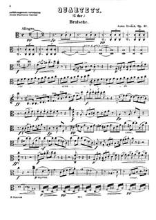 Струнный квартет No.11 до мажор, B.121 Op.61: Партия альта by Антонин Дворжак