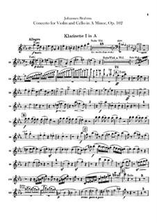 Концерт для скрипки, виолончели с оркестром ля минор, Op.102: Партии кларнетов in A by Иоганнес Брамс