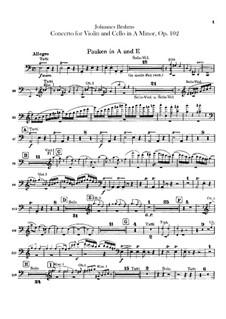 Концерт для скрипки, виолончели с оркестром ля минор, Op.102: Партии литавр by Иоганнес Брамс
