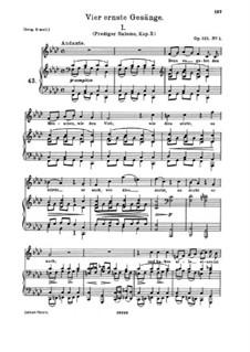 Четыре серьёзных напева, Op.121: Nr.1 Denn es gehet dem Menschen by Иоганнес Брамс