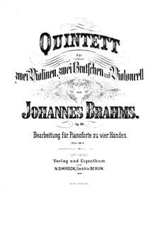 Струнный квинтет No.1 фа мажор, Op.88: Версия для фортепиано в 4 руки by Иоганнес Брамс