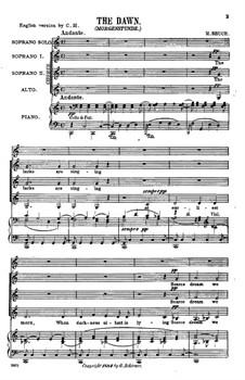 Две кантаты, Op.31: No.2 The Dawn by Макс Брух