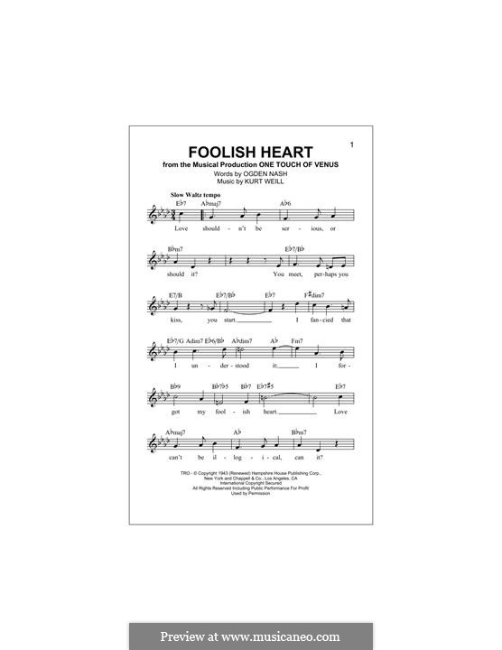 Foolish Heart: Для клавишного инструмента by Kurt Weill