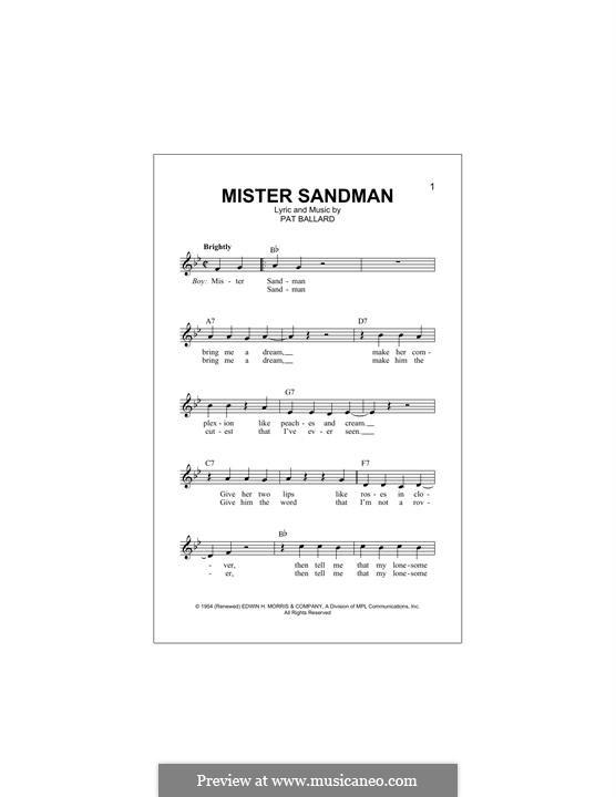 Mister Sandman (The Chordettes): Для клавишного инструмента by Pat Ballard