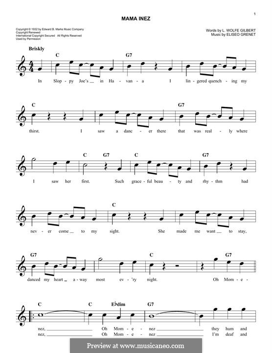 Mama Inez (Eliseo Grenet): Для клавишного инструмента by L. Wolfe Gilbert