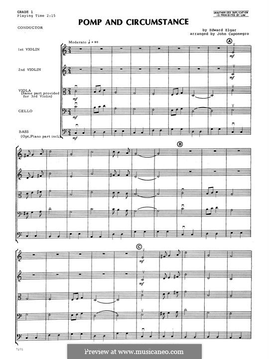 Pomp and Circumstance: For strings – Full Score by Эдуард Элгар