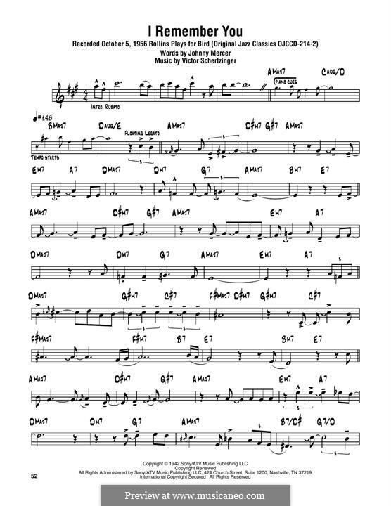 I Remember You (Diana Krall): Для тенорового саксофона by Victor Schertzinger