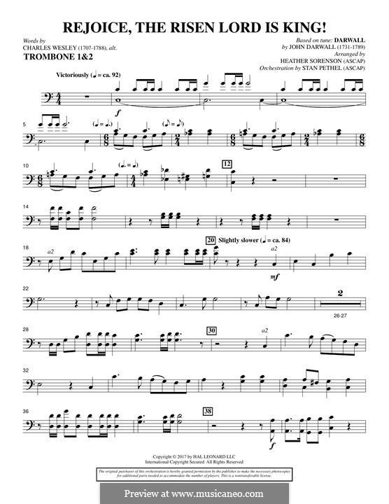 Rejoice, the Risen Lord is King!: Trombone 1 & 2 part by John Darwall