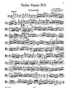 Соната для скрипки и клавесина фа мажор, HWV 370 Op.1 No.12: Версия для виолончели и фортепиано – Партия виолончели by Георг Фридрих Гендель