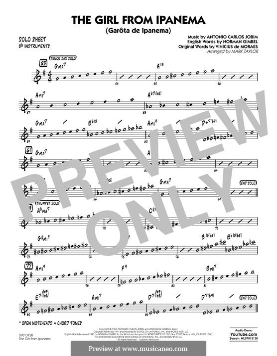 The Girl from Ipanema (Garota de Ipanema), for Orchestra: Bb Solo Sheet part by Antonio Carlos Jobim