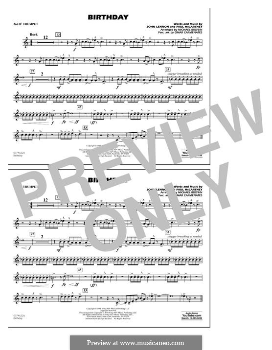 Birthday (Marching Band version): 2nd Bb Trumpet part by John Lennon, Paul McCartney