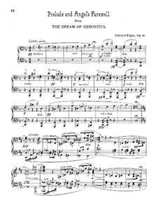 Сон Геронтия, Op.38: Прелюдия и прощание Ангела, для фортепиано by Эдуард Элгар