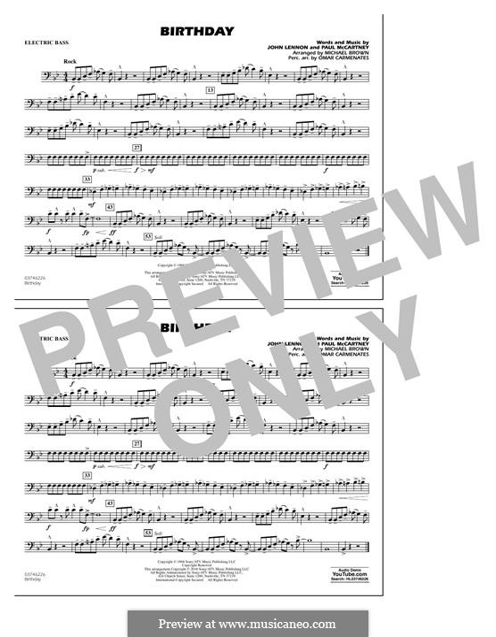 Birthday (Marching Band version): Electric Bass part by John Lennon, Paul McCartney