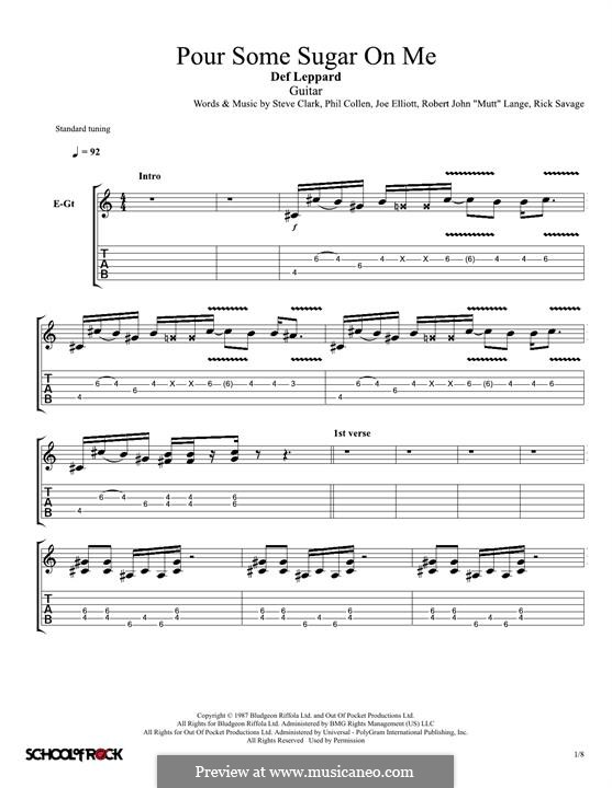 Pour Some Sugar on Me (Def Leppard): Для гитары by Joe Elliott, Phil Collen, Richard Savage, Robert John Lange, Steve Clark